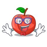 Geek nectarines cartoon with green leaves character. Vector illustration royalty free illustration