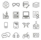 Geek or Nerd Culture & Equipment Icons Thin Line Vector Illustration Set Stock Illustration