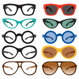 Geek Nerd Glasses and Retro Vintage Sunglasses Stock Images