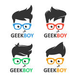 Geek or nerd logo vector set. Cartoon face smart boy with glasses. Icons for education, gaming, technological or scientific applications and sites vector illustration