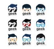 Geek nerd programmer gamer logo design. Template vector illustration