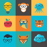 Geek, nerd, smart hipster icons - animals and symbols Royalty Free Stock Photo