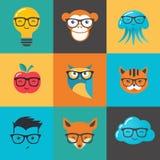 Geek, nerd, smarta hipstersymboler - djur och symboler stock illustrationer