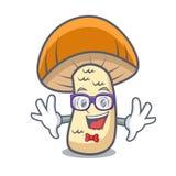 Geek orange cap boletus mushroom character cartoon. Vector illustration stock illustration