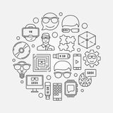 Geek outline circular illustration Stock Photo
