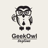 Geek owl logo. Monochrome icon with geek owl in glasses stock illustration
