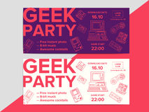 Geek party poster with electronic gadgets from 90s on trendy. Background. Hipster night club event flyer ad layout with retro and vintage tech devices Royalty Free Illustration