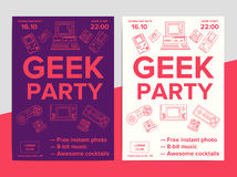 Geek party poster with electronic gadgets from 90s on trendy. Background. Hipster night club event flyer ad layout with retro and vintage tech devices Stock Illustration