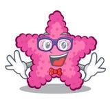 Geek pink starfish in the cartoon shape. Vector illustration vector illustration