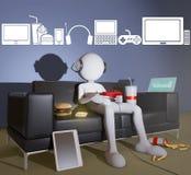Geek player with icons. Geek player with icons, 3d rendering Royalty Free Stock Image