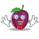Geek plum character cartoon style. Vector illustration royalty free illustration