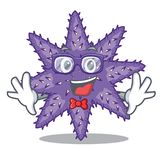 Geek purple starfish above cartoon coral reef. Vector illustration vector illustration