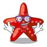 Geek red starfish animal on mascot sand. Vector illustration vector illustration