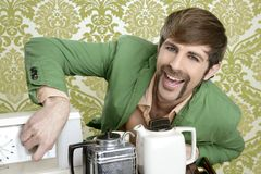 Geek retro man drinking tea coffee vintage teapot Stock Photos