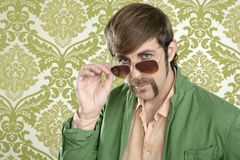 Geek retro salesperson man funny mustache Royalty Free Stock Photo