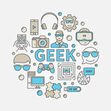 Geek round colorful illustration Royalty Free Stock Images