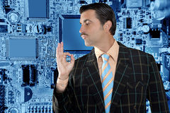 Geek salesperson man electronics Stock Photography