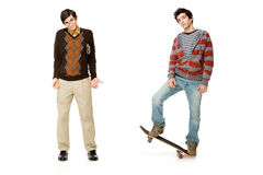 Geek and skater Royalty Free Stock Image