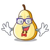Geek slice of ripe green pear character. Vector ilustration vector illustration