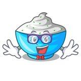 Geek sour cream in a wooden bowl cartoon. Vector illustration vector illustration
