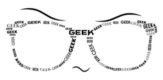 Geek Specs - Black. Pair of geek style glasses with geek text vector illustration