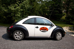 Geek Squad. Mobile technical support unit parked in a residential driveway Stock Image