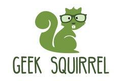 Geek squirrel logo. Logo design of squirrel in glasses Royalty Free Stock Image