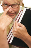 Geek Student with Braces Carries Books Royalty Free Stock Image