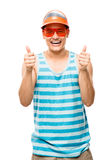 Geek student showing thumbs up Royalty Free Stock Photography