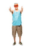 Geek student showing thumbs up Royalty Free Stock Images