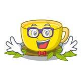 Geek tea turmeric in the cartoon glasses. Vector illustration stock illustration