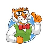 Geek Tiger mascot character design. Geek Tiger mascot vector in isolated white background, tiger character design, cartoon style royalty free illustration