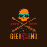 Geek Till The End Abstract Vector Emblem, Sign or Logo Template. Funny Skull Face in Glasses with Crossed Monopod and Stock Photo