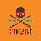 Geek Till The End Abstract Vector Emblem, Sign or Logo Template. Funny Skull Face in Glasses with Crossed Monopod and Stock Images