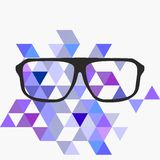 Geek vector glasses on grey and blue wrapping background Royalty Free Stock Photo