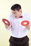 Geek with Vinyl Record Royalty Free Stock Images