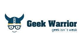 Geek Warrior Logo. Logo for geek, technology and IT companies. Character in glasses and helm smiling. Font for title: Aaron bold, for tagline - noto sans (with royalty free illustration