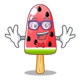 Geek watermelon ice cream shaped wood character. Vector illustration stock illustration