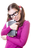 Geek woman holding books Royalty Free Stock Images