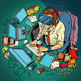 IT geek working on computers, virtual reality vector illustration