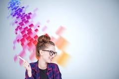 Geekflicka i exponeringsglas, flöde av data vektor illustrationer