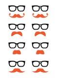 Geekglazen en de pictogrammen van de van de gembersnor of snor Royalty-vrije Stock Fotografie