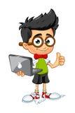 Geekjongen - Laptop Stock Afbeelding