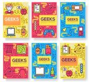 Geeks διανυσματικές κάρτες φυλλάδιων λεπταίνει το σύνολο γραμμών επαγγελματικό πρότυπο υπεύθυνων για την ανάπτυξη γραφείων flyear ελεύθερη απεικόνιση δικαιώματος