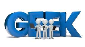 Geeks. Render of three geeks and the text geek vector illustration