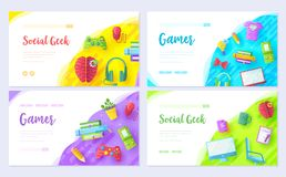 It geeks brochure card set. Office professional developer template of flyear, web banner, ui header, enter sit. E. Workplace technology layout invintation modern stock illustration