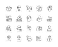 Geeks,nerds line icons, signs, vector set, outline illustration concept. Geeks,nerds line icons, linear signs, vector set, outline concept illustration stock illustration