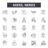 Geeks,nerds line icons for web and mobile design. Editable stroke signs. Geeks,nerds  outline concept illustrations. Geeks,nerds line icons for web and mobile royalty free illustration