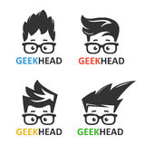 Geeks and nerds vector set of logos. Cartoon boy`s face nerd with glasses. Set of vector icons of computer geek. Logo for educational or scientific applications royalty free illustration