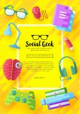 It geeks vector brochure cards set. office professional developer template of flyear, magazines, posters, book cover. Banners. Layout workplace technology flat vector illustration